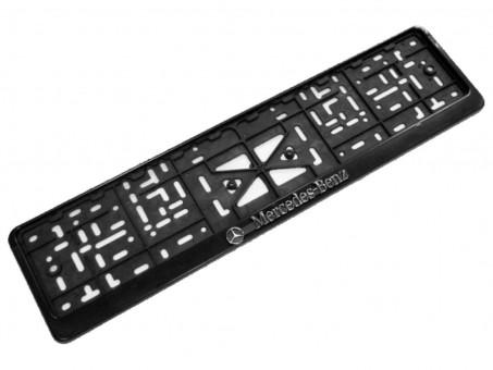 Рамка для номера с логотипом Mercedes (с нижней защелкой, черная)