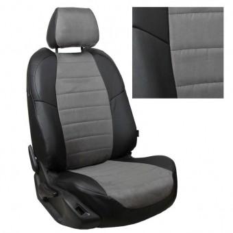 Чехлы Автопилот Hyundai Sonata VI (2010>) YF - черно-серые, алькантара