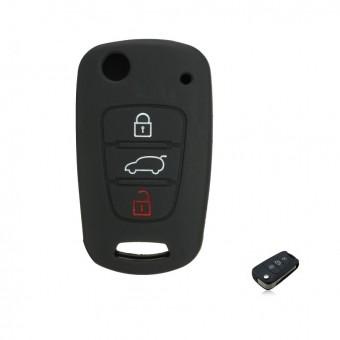Чехол силиконовый для выкидного ключа Kia 3 кн. (Soul, Sportage, черный)