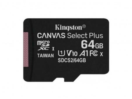Карта памяти microSD Kingston Canv Select Plus 64 Gb (class 10, U1)