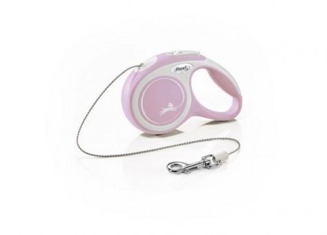 Рулетка Flexi Comfort New XS, трос, 3 м, серо-розовый