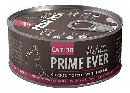 Консервы для кошек Prime Ever 3B, цыпленок с креветками в желе (80 г)