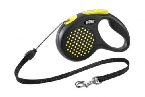 Рулетка Flexi Design M, трос, 5 м, желтый горошек