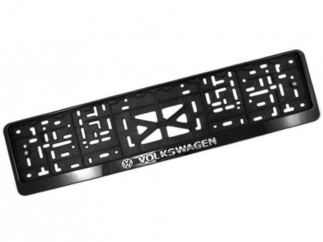 Рамка для номера с логотипом VW (с защелкой, черная)