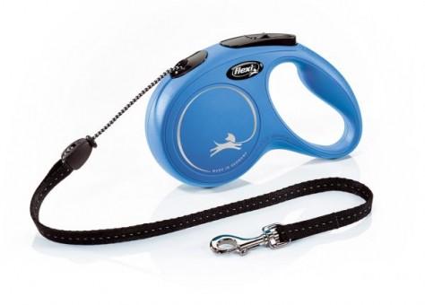Рулетка Flexi Classic New M, трос, 8 м, синий