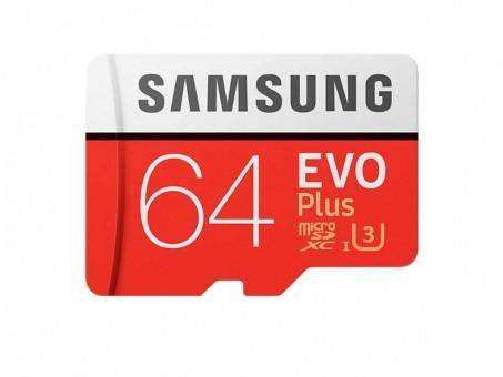Карта памяти microSD Samsung EvoPlus2 64 Gb (class 10, U3)