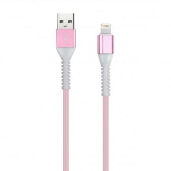 Кабель зарядки Smartbuy 512 Flow 3D, USB - iPhone (2 А, 1 м, розовый)