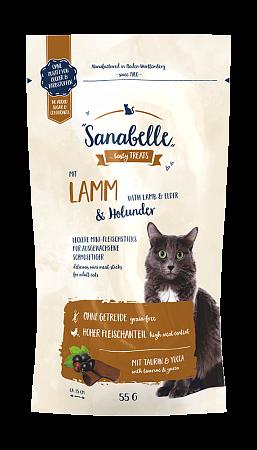 Лакомство для кошек Sanabelle Snack, ягненок и бузина (55 г)