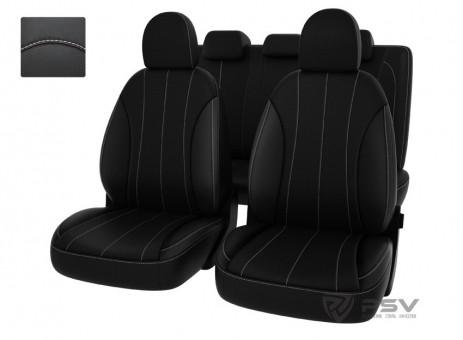 Чехлы Оригинал Hyundai i30 II (2012-н.в.) GD черный/отстрочка белая, экокожа, 121341