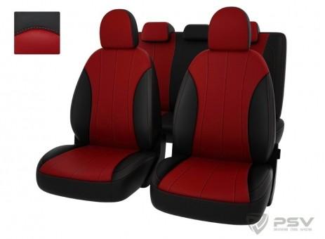 """Чехлы  Hyundai i30 II 2012->  черно-красная экокожа """"Оригинал"""""""