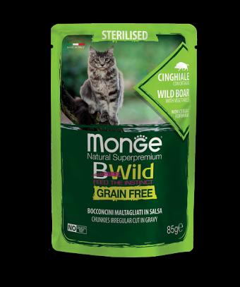 Пауч для кошек Monge BWild Grain Free - Bocconcini Cinghiale Sterilised (85 г)