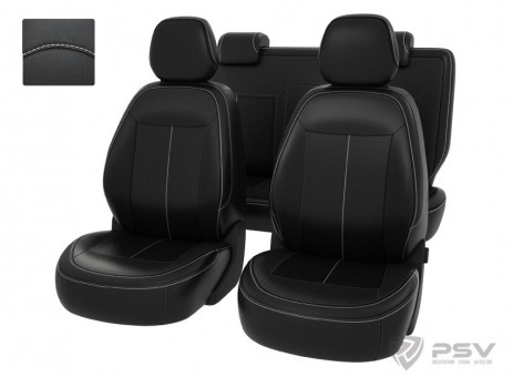Чехлы Chevrolet Cobalt II 2011-2015 г. / Ravon R4 2016-> черный/отстрочка белая, экокожа *Оригинал*