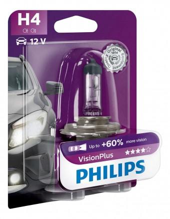 Лампа Philips H4 VisionPlus (12 В, 55/60 Вт, +60%, блистер)