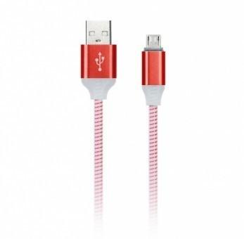 Кабель зарядки Smartbuy 12 Illuminate, USB - MicroUSB (2 А, 1 м, красный)