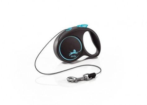 Рулетка Flexi Black Design XS, трос, 3 м, черно-голубой