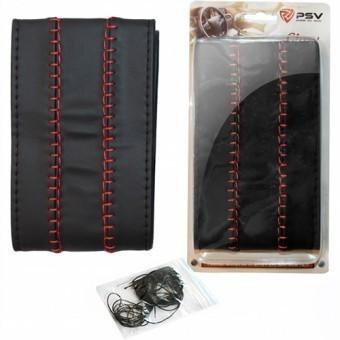Оплетка руля со шнуровкой PSV Glory fiber (черная/отстрочка красная)