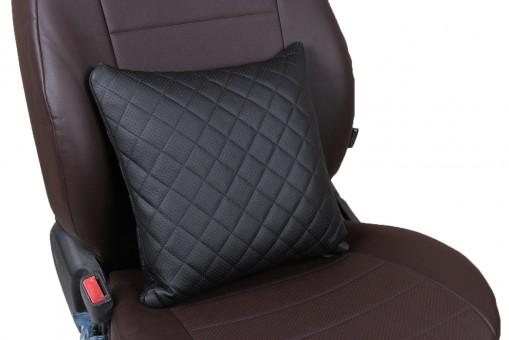 Подушка-кварат Автопилот №3 Экокожа (ромб, черная)