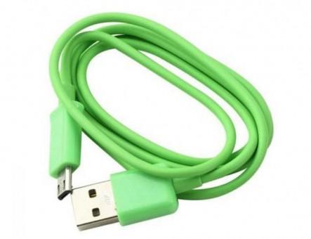 Кабель зарядки Smartbuy 12 Color, USB - MicroUSB (1 м, зеленый)