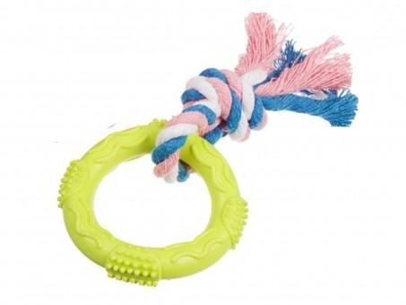 Игрушка Пижон Кольцо с веревочкой (зеленая, размер S, диаметр 7 см)