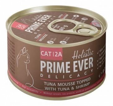 Консервы для кошек Prime Ever Delicacy Мусс 2A, тунец с креветками  (80 г)
