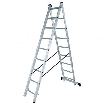 Лестница алюминиевая двухсекционная Вихрь ЛА 2х9