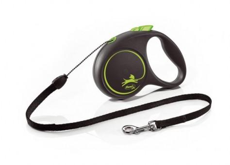 Рулетка Flexi Black Design S, трос, 5 м, черно-зеленый