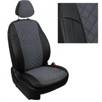 Чехлы Автопилот VW Polo (2009>) Sd, раздел. - черно-серые, алькантара, ромб