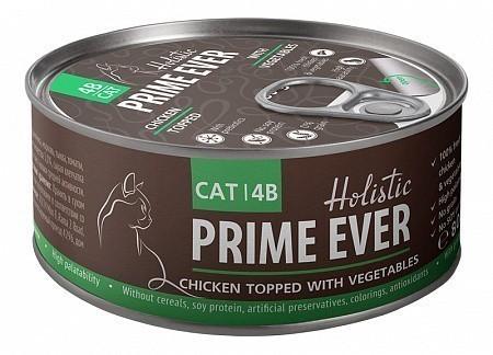Консервы для кошек Prime Ever 4B, цыпленок с овощами в желе (80 г)