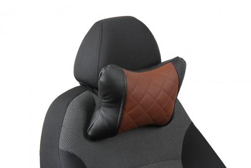 Подушка-косточка Автопилот Экокожа (ромб, черно-коричневая)