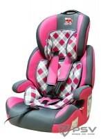 Автокресло детское 9-36кг. Little Car Brave Isofix клетка-розовый