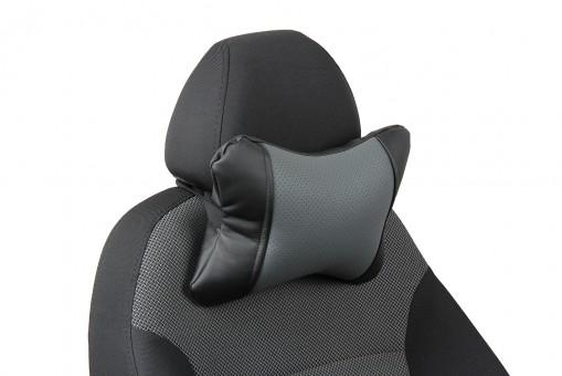Подушка-косточка Автопилот Экокожа (черно-серая)