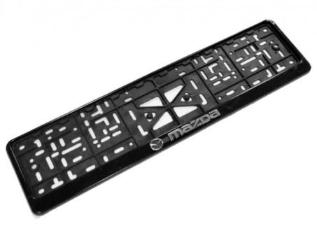 Рамка для номера с логотипом Mazda (с нижней защелкой, черная)