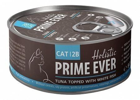 Консервы для кошек Prime Ever 2B, тунец с белой рыбой в желе (80 г)