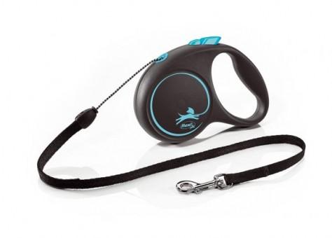 Рулетка Flexi Black Design S, трос, 5 м, черно-синии