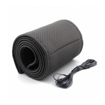 Оплетка руля под шнуровку экокожа черная перф. ДИАМ 360-370мм