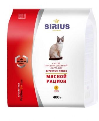Сухой корм для кошек SIRIUS, мясной рацион, 0,4 кг