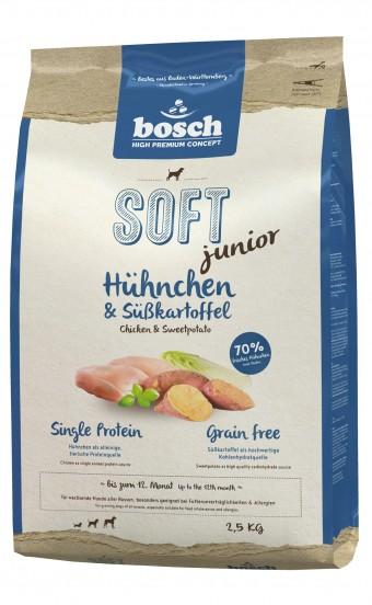Корм Bosch Soft Junior для щенков с курицей и бататом, полувлажный, 2,5 кг