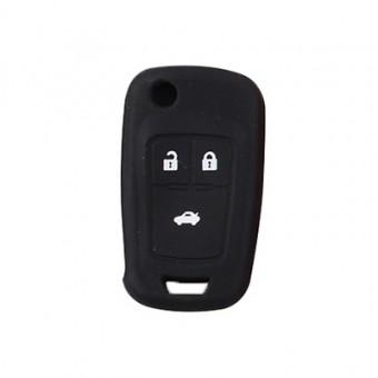 Чехол силиконовый для смарт-ключа Chevrolet 3 кн (черный)