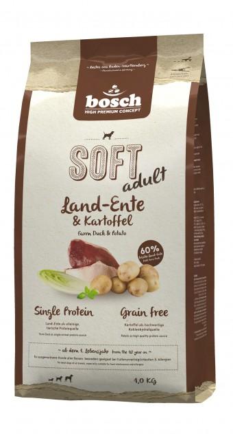Корм Bosch Soft для собак, с уткой и картофелем, полувлажный, 1 кг