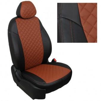 Чехлы Автопилот Лада Гранта (2011>) Luxe - черно-коричневые, ромб