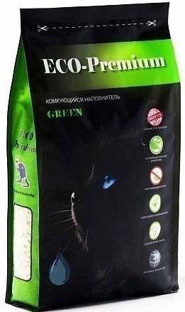 Наполнитель кошачьего туалета ECO Premium Green (древесный, 20,0 кг, 55 л, без запаха)