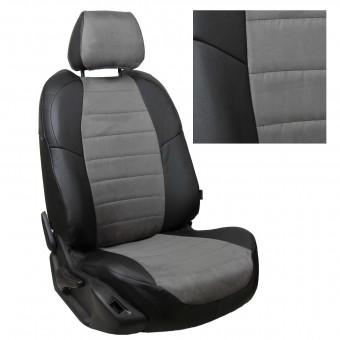 Чехлы Автопилот VW Polo (2009>) Hb, раздел. - черно-серые, алькантара