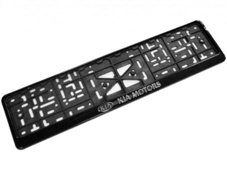 Рамка для номера с логотипом Kia (с нижней защелкой, черная)