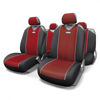 Чехлы-майки Автопрофи Carbon Plus (комплект) - черно-красные