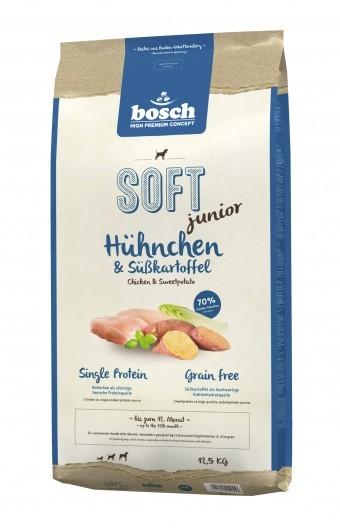 Корм Bosch Soft Junior для щенков с курицей и бататом, полувлажный, 12,5 кг