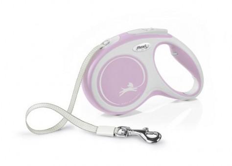 Рулетка Flexi Comfort New M, лента, 5 м, серо-розовый