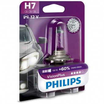 Лампа Philips H7 VisionPlus (12 В, 55 Вт, +60%, блистер)
