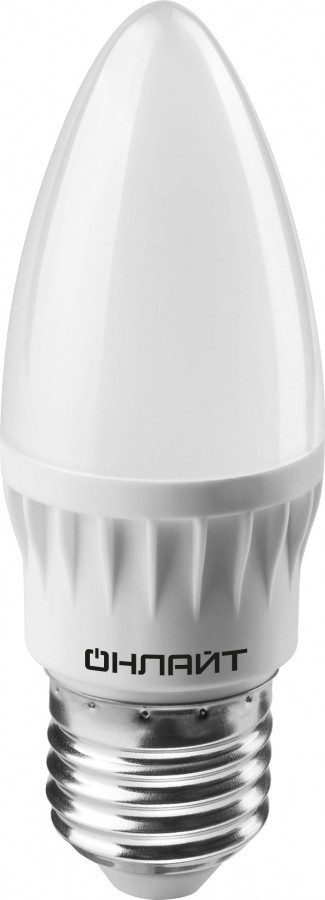 Лампа Онлайт OLL-C37-8-230-6.5K-E27-FR (640 Лм, свеча)