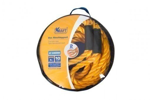 Трос буксировочный Kraft канат 10 т (без крюков, 6 м, сумка)