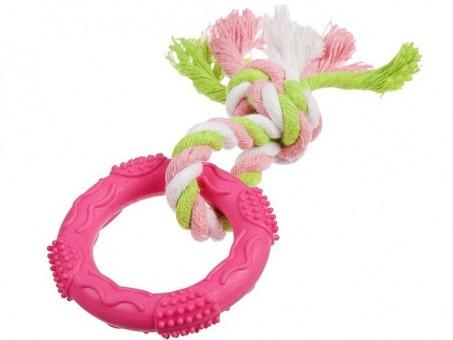 Игрушка Пижон Кольцо с веревочкой (розовая, размер S, диаметр 7 см)